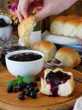 金黄小圆面包和莓果和花围拢的莓果果酱 图库摄影