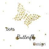 金黄小点蝴蝶设计模板 免版税库存图片