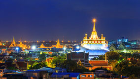 金黄山寺庙, Wat Saket曼谷 免版税库存图片