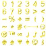 金黄弯曲的3D数字和标志 免版税库存照片
