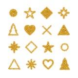 金黄形状闪烁背景 免版税图库摄影