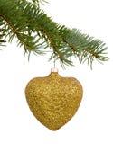 金黄心脏圣诞节玩具 库存图片