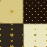 金黄心脏无缝的样式集合 免版税图库摄影