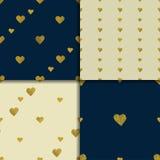 金黄心脏无缝的样式集合 库存照片