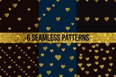 金黄心脏无缝的样式集合 库存图片