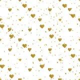 金黄心脏无缝的样式 库存例证