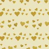 金黄心脏无缝的样式 库存图片