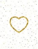 金黄心脏闪烁背景 了不起的设计为情人节 库存图片