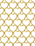 金黄心脏闪烁背景 无缝的模式 库存照片