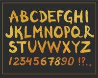 金黄手拉的字体 手书面闪烁现代字母表和数字 传染媒介设计标志 图库摄影