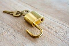 金黄挂锁 免版税库存照片