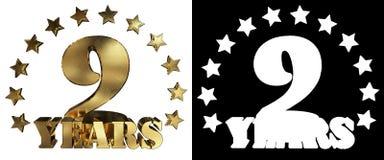 金黄数字九和年的词,装饰用星 3d例证 库存图片