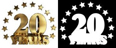 金黄数字二十和年的词,装饰用星 3d例证 免版税图库摄影