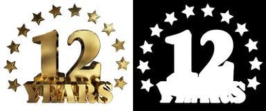 金黄数字十二和年的词,装饰用星 3d例证 免版税图库摄影