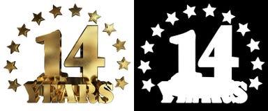 金黄数字十四和年的词,装饰用星 3d例证 免版税库存图片