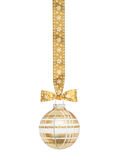 金黄方格的圣诞节球形 库存照片