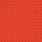 金黄无缝的中国发怒方形的线几何窗口网眼图案样式背景 免版税库存照片
