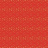 金黄无缝的中国式螺旋线几何样式背景 免版税库存图片