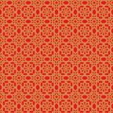 金黄无缝的中国窗口网眼图案双重线的星花纹花样背景 免版税库存照片