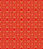金黄无缝的中国窗口网眼图案正方形十字架样式背景 库存例证