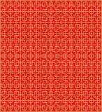 金黄无缝的中国窗口网眼图案正方形圆的几何样式背景 免版税库存图片