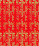 金黄无缝的葡萄酒中国传统窗口网眼图案正方形螺旋样式背景 库存图片
