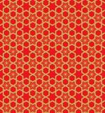 金黄无缝的葡萄酒中国窗口网眼图案星花几何样式背景 库存照片