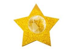 金黄星和在白色隔绝的水晶地球 库存照片
