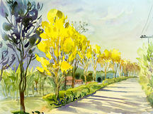 绘金黄树的原始的风景黄色颜色水彩 免版税库存图片