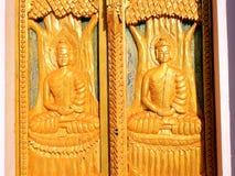 金黄树雕刻 库存照片