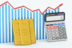 金黄价格概念、图与计算器和金制马上的齿龈 3d关于 免版税库存图片