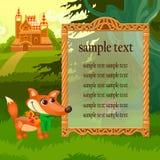 金黄框架、狐狸和木城堡在森林地 向量例证