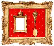 金黄框架有您的图片的红色背景 库存照片