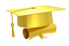金黄毕业盖帽文凭, 3D翻译 库存图片