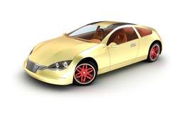 金黄汽车概念。 我自己设计。 皇族释放例证