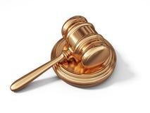 金黄法律惊堂木 法律概念 3d 库存照片