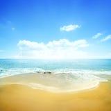 金黄海滩和蓝天 免版税库存照片
