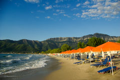 金黄海滩, Thassos海岛,希腊。 免版税库存照片