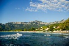 金黄海滩, Thassos海岛,希腊。 免版税库存图片