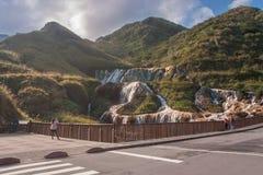 金黄瀑布是一个最美丽的瀑布在台湾 库存图片
