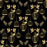 金黄的笼子 无缝的模式 图库摄影