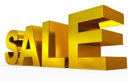 金黄的销售- 3d在白色隔绝的信件 免版税图库摄影