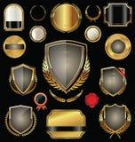 金黄盾、徽章、标签和月桂树 库存例证