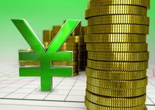 金黄硬币和绿色日元标志 免版税库存图片