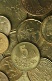 金黄硬币纹理 免版税库存图片