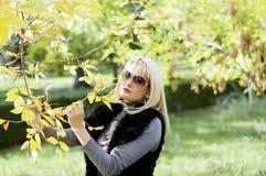 金黄秋天,妇女在手中拿着与黄色le的一个分支 免版税图库摄影