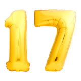 金黄第17十七做了可膨胀的气球 免版税库存照片