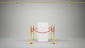 金黄篱芭,有红色障碍绳索的柱子 向量例证