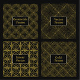 金黄线性框架 套四单色几何 免版税库存照片