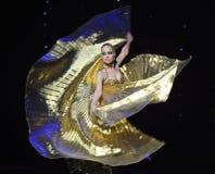 金黄罗斯土耳其腹部舞蹈这奥地利的世界舞蹈 免版税库存照片